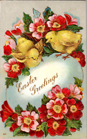 Vintage C. 1910 Easter Greeting Chick Sitting on Egg Flowers Embossed Postcard