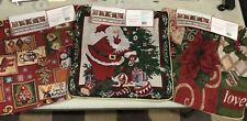 "SET OF 3 CHRISTMAS TAPESTRY THROW PILLOW COVERS SANTA CLAUSE NEW  18"" X 18"" TREE"