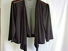 R&M Richards Cardigan Size XL Black Open Front Semi Sheer Back Knit Front