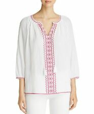NYDJ Embroidered Peasant Blouse Tassels White Red Cotton NWT $108 Size X-Small