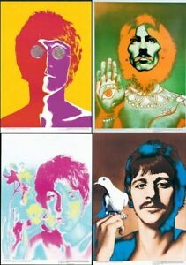 ORIGINAL AUTHENTIC BEATLES POSTER SET 4 BY RICHARD AVEDON DONE IN 1967 19x27inch