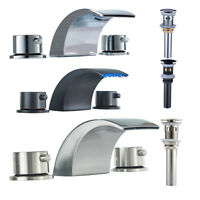 LED Waterfall Widespread Bathroom Sink Faucet  Basin Two Handles Mixer Tap
