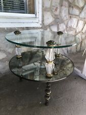 HOLLYWOOD REGENCY ANTIQUE GOLD GLASS Mirror END SIDE TABLE