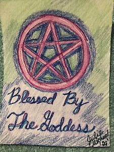 5.5x4 inch crayon scrap paper drawing goddess blessing