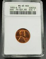 1955 D Lincoln Wheat Cent Penny Variety MS65 RED ANACS DDO 001 FS-21.93 FS-101