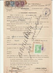 LIBYA , Document with  Revenue Stamps 1944