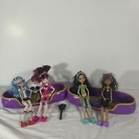 Monster High Dead Tired Lot 4 Dolls Draculauara Clawdeen Ghoulia Cleo Bunk Bed