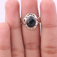 Black onyx Solitaire Ring Size 7 925 Solid Sterling Silver Handmade Jewelry