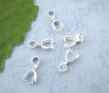 25 Silver Plated Pinch Clip Bail Beads Findings 7*17mm