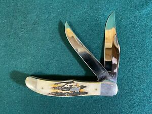 KaBar Folding Hunter, Stag Handle, Dog Head Medallion, Folding Pocket Knife