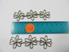 100 Pcs Metal  3 Flower/Chain  Siver  For Purse Belt Buckle Clothes Bags