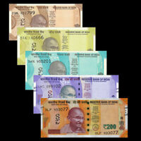 INDIA SET 5 PCS 10 20 50 100 200 RUPEES 2017- 2019 new design UNC