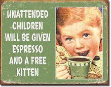 Unattended Children Espresso Kitten TIN SIGN metal poster vtg look wall art 1557