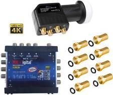 5/8 Multischalter Sat Multiswitch Verteiler 8 Teilnehmer MK Digital 3D 4K + LNB