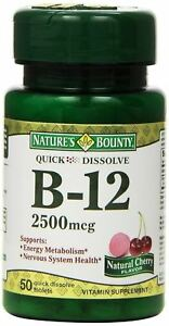 Nature's Bounty Sublingual Vitamin B-12, 2500mcg, 50 Tablets
