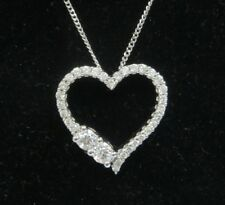 Ever Us 1/2 CTW Diamond Heart Pendant Necklace 14K White Gold