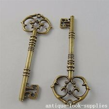 Vintage Bronze Alloy Antique Style Key Pendants Charms Jewelry Craft 4pcs 50729
