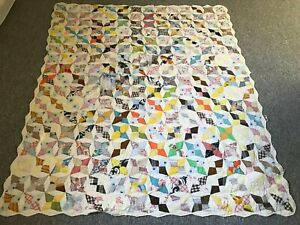 "VINTAGE DISTRESSED ANTIQUE ORIGINAL HANDMADE LARGE QUILT BLANKET SIZE 70""X83"""
