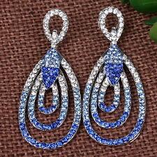 Pair Blue Crystal Chandelier Teardrop Stainless Steel Ear Stud Eardrop Earrings