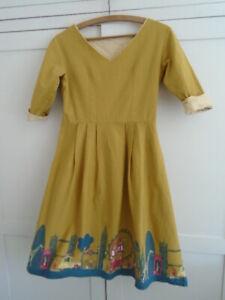 Poppy (Palava Bryony) Beatrice London Print Dress 50s style XS