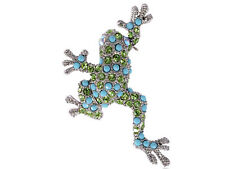 Peridot Leaping Frog Pin Brooch Gift Lady Crystal Elements Faux Turquoise Beaded