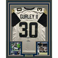FRAMED Autographed/Signed TODD GURLEY 33x42 Los Angeles White Jersey Beckett COA
