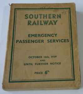 Southern Railway - Emergency Time Tables - October 16th, 1939
