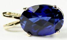 Created Blue Sapphire, 14KY Gold Pendant, P004