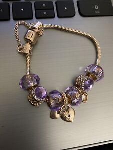 Crystal Heart Charm Bracelet 18K Rose Gold Plated Made with Swarovski Elements