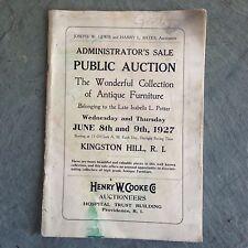 Rare Original Auction Catalogue-Estate of Isabella Potter Kingston RI 1927
