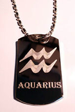 Celtic Zodiac Sign Aquarius Water Astrology Dog Tag Metal Chain Necklace Fashion