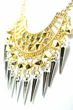 LADIES ELEGANT MULTI SPIKED GOLD STATEMENT PHAROAH NECKLACE UNIQUE (CL5)