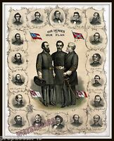 Historical Photograph Civil War Confederate Officers Collection Year 1896  8x10