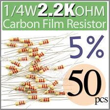 50 pcs Carbon Film Resistors 1/4W 0.25W 0.25 Watt 2.2K Ohm 2.2Kohm 2K2 +/-5%