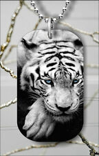 TIGER BLUE EYES CLOSE UP #2 DOG TAG NECKLACE PENDANT FREE CHAIN -tgh4Z