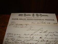 Antique Letterhead 1874 Reekie & McKerrow Commission Merchants Flour Grain Seed