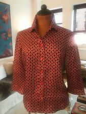 Prada Red Blue Patterned Silk Blouse size 40