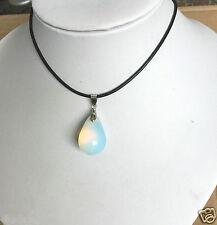 Opalite Opal Crystal Quartz Genuine Leather Necklace Teardrop Pendant 45CM 1PCS