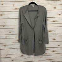 J Jill Gray Wool Blend Hidden Button Pocket Cardigan Sweater Size Medium