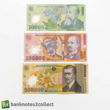 More details for romania: set of 3 romanian lei banknotes.