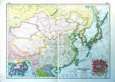 Vintage Antique Original 1920 Print Map Of Chinese Republic & Japan & Peking Map