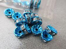 Blue Tone Rhinestone Roundel 8mm Spacer Beads 20pcs