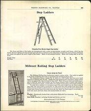 1905 ADVERTISEMENT Milbrant Rolling Step Ladder Store Library Steel Track Oak