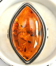 Vintage Large Sterling Silver and Natural Baltic Amber With Insect Ring Size 6