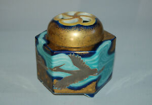Imari porcelain koro incense burner, flying cranes, blue and gold, Japan