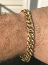 "Mens ICY Cuban Miami Link 8.5"" Bracelet 14k Gold Plated 10mm 5ct Lab Diamonds"