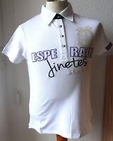 Esperado Damen Polo Shirt, Weiß mit Applikationen, Baumwolle Elasthan, Gr. S