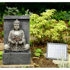 Solar Stone Buddha Fountain Outdoor Water Feature LED Polyresin Statues
