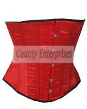 Underbust Red Satin Corset Full Steel Boned Spiral Basque Heavy Lacing Shaper