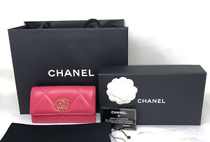 CHANEL Shiny Goatskin Quilted 19 Flap Wallet Dark Pink AUTHENTIC NEW ❤️